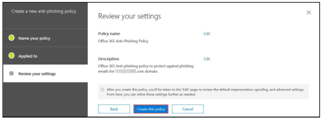 O365 anti-phishing - step 10