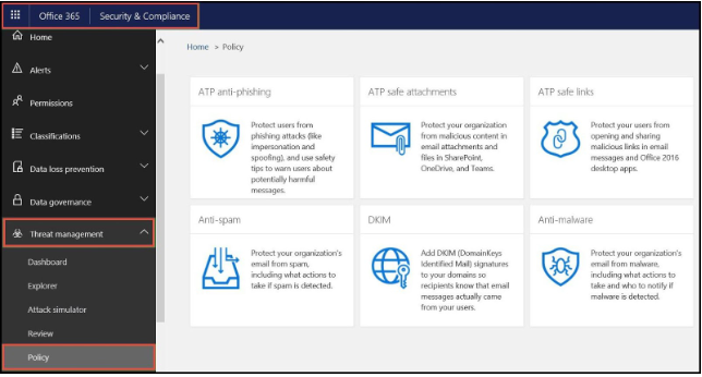 Office 365 anti-phishing - step 2