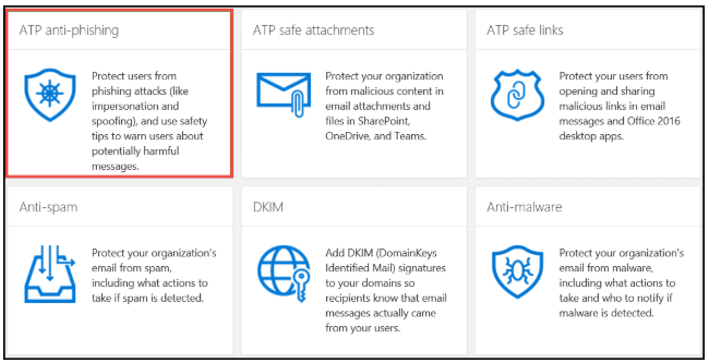 Office 365 anti-phishing - step 3
