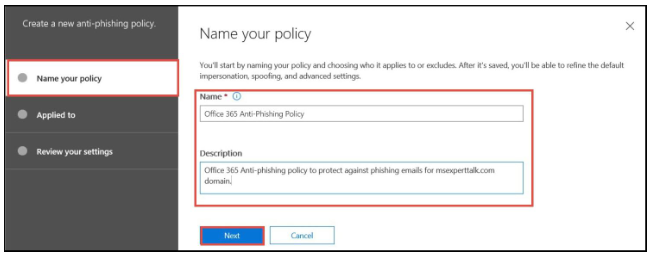 Office 365 anti-phishing - step 5