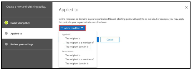 Office 365 anti-phishing - step 6
