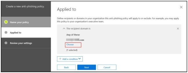 Office 365 anti-phishing - step 7