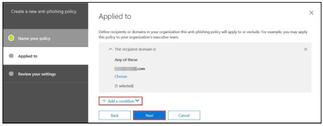 Office 365 anti-phishing - step 8