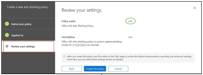 Office 365 anti-phishing - step 9
